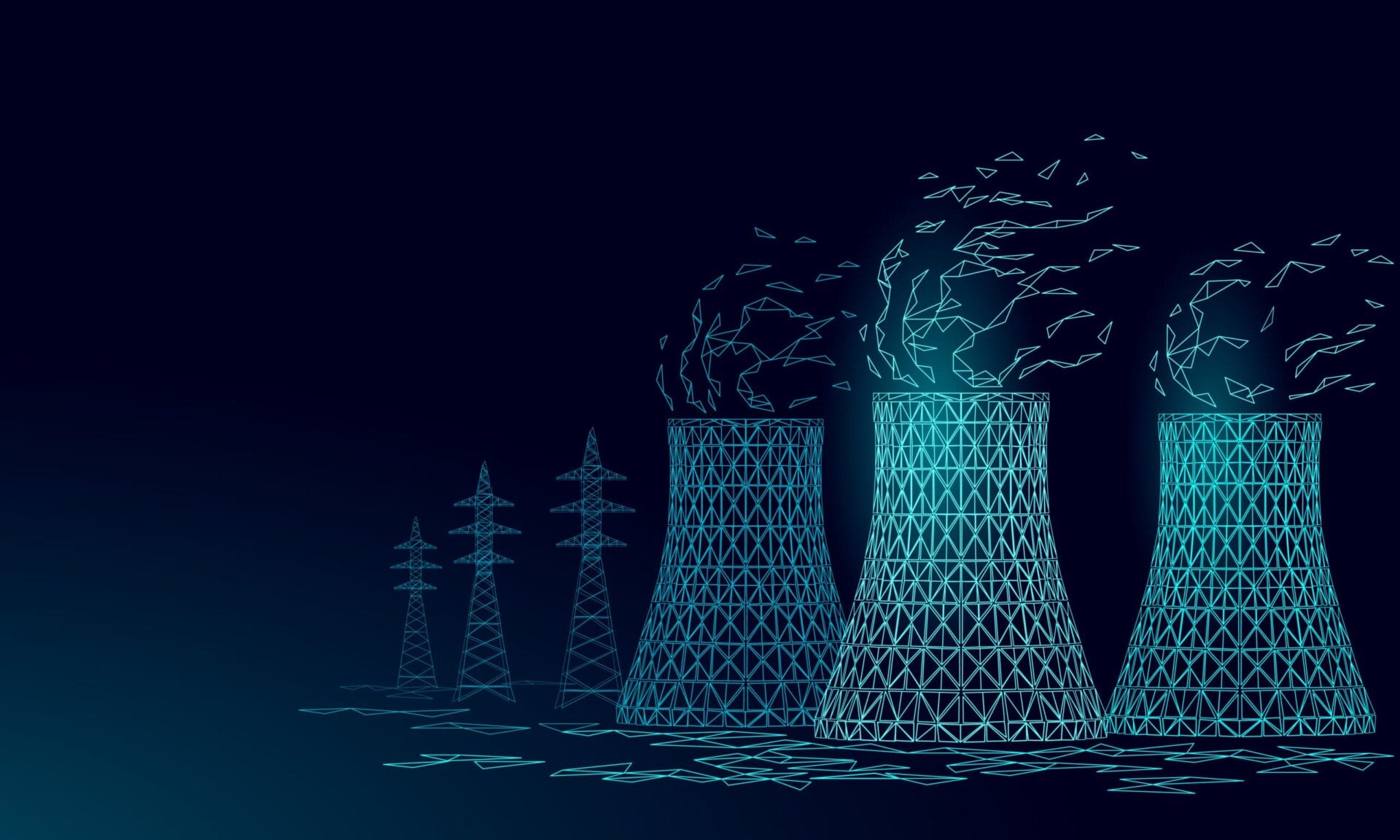 Nuclear power station cooling tower low poly. 3d render ecology pollution save planet environment concept triangle polygonal. Radioactive nuclear reactor electricity vector illustration art